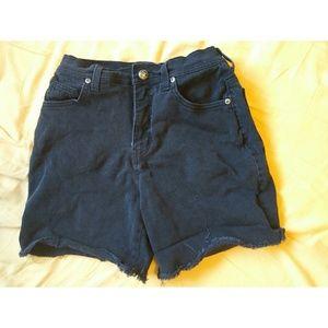 Vintage High Waist Denim Shorts cut offs cuff